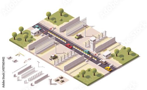 Photo Vector isometric border checkpoint