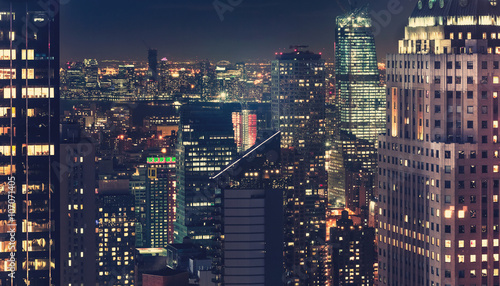 Deurstickers New York New York City skyline at night