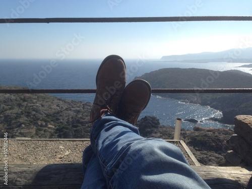Fototapeta relaxing in the cap de creus watching the mediterranean sea obraz na płótnie