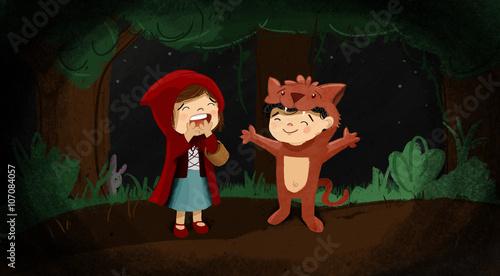 Niños disfrazados de caperucita roja y el lobo feroz