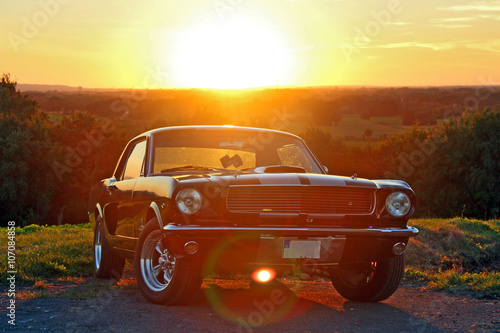 Photo sur Aluminium Vintage voitures Ford Mustang 1966