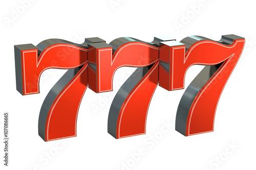 Fotografia  777 Lucky jackpot symbol, 3D rendering