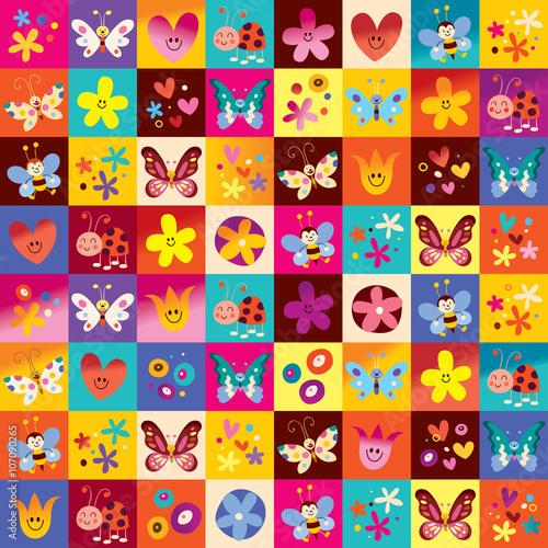Photo sur Aluminium Art abstrait cute butterflies ladybugs flowers nature pattern