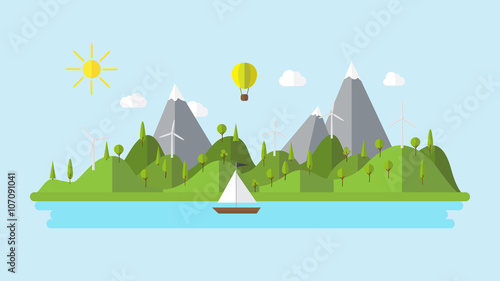 Flat vector ecology landscape island illustration with boat wind power plant and balloon coast scenery background