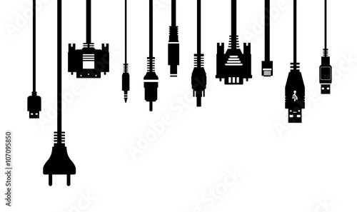 Fotografía  Cable wire and electric plug collection - silhouette illustration