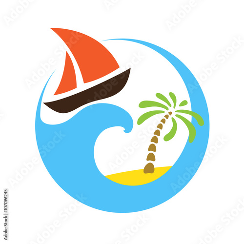 Tropical palm on island with sea and sailboat. Vector logo. Wall mural