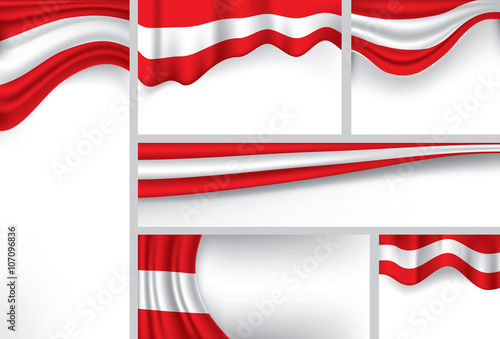 Fotografie, Obraz  Abstract Austria Flag, Austrian Colors (Vector Art)
