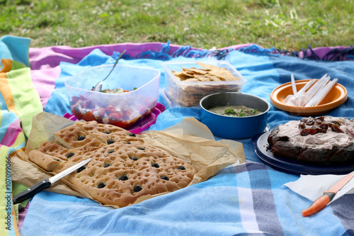 Aluminium Prints Picnic Various picnic food: vegetable and feta salad, baba ghanoush, gluten-free crackers, olive bread and date chocolate cake. Selective focus.