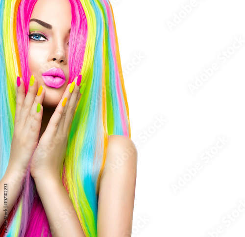 Foto op Plexiglas Beauty Beauty girl portrait with colorful makeup, hair and nail polish