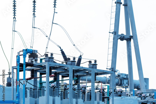Substation equipment, blue tone picture - Buy this stock