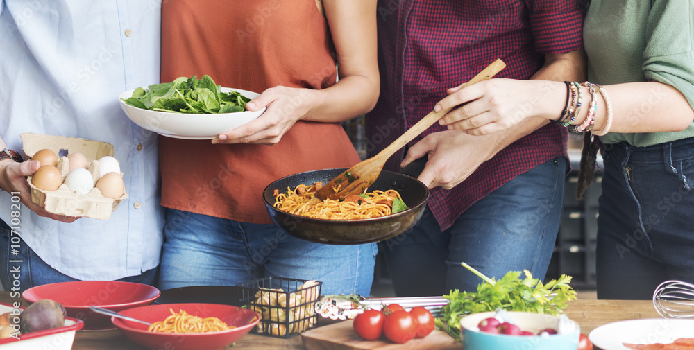 Fototapety, obrazy: Friends Kitchen Cooking Dining Togetherness Concept