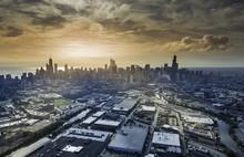 Sunrise Above City Of Chicago ...
