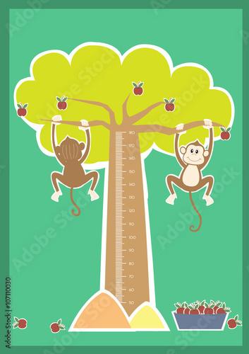 Staande foto Hoogte schaal Monkey cartoons ,Meter wall or height meter from 50 to 180 centimeter,Vector illustrations