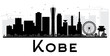 Kobe City skyline black and white silhouette.