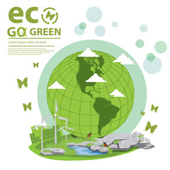 Plakat Ecology concept. save world vector illustration.