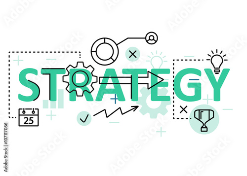 Fotografie, Obraz  Strategy concept flat line design with icons and elements