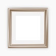 Metallic picture frame with mount, vector illustration, square format