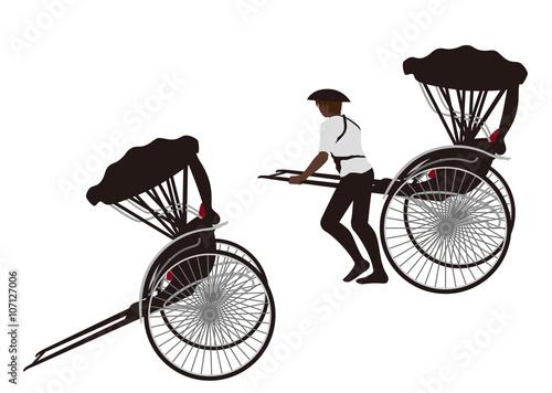 Valokuva  イラスト素材「人力車」