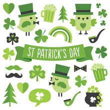 Set Of Cute Irish Elements, Symbols, Icons For Saint Patrick's Day, In Modern Flat Style, With Ribbon Banner, Isolated On White. Design Elements For Irish Posters, Greeting Cards Or Banners.
