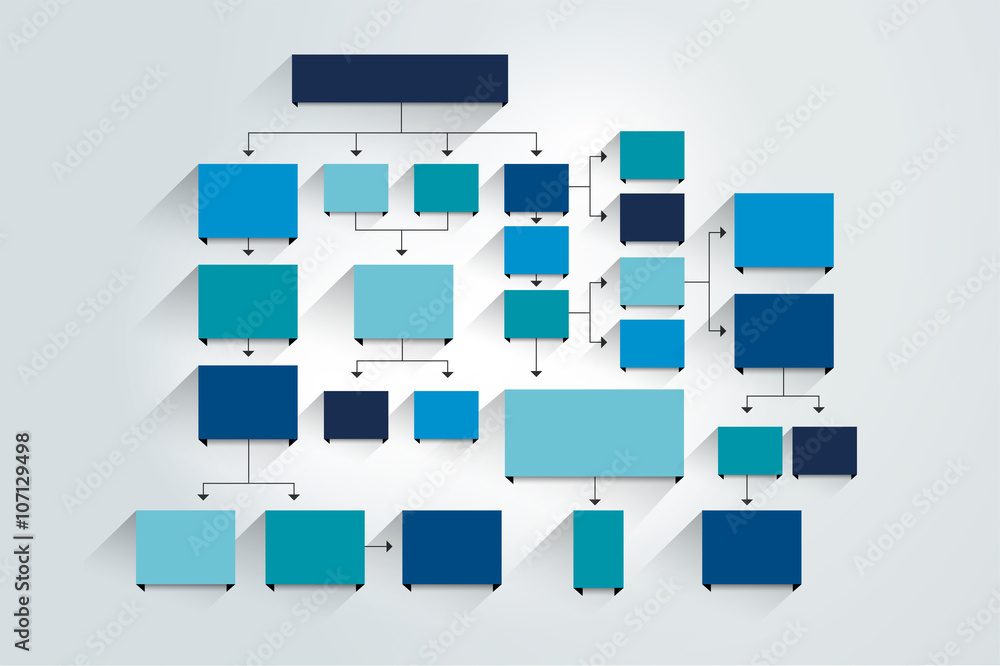Fototapeta Fowchart. Blue Colored shadows scheme.