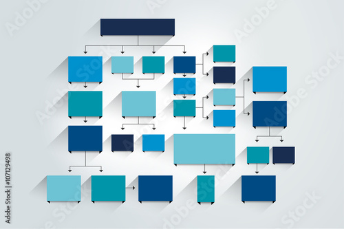 Fotografía  Fowchart. Blue Colored shadows scheme.