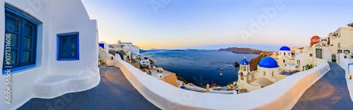 Fototapeta Santorini, Greece - Oia at sunset, panorama obraz