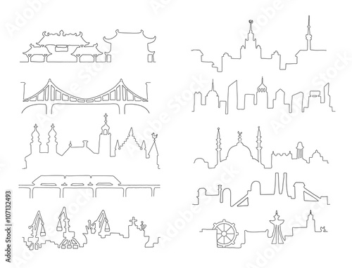 Skylines. Town. Isolated on a white background. Doodle.