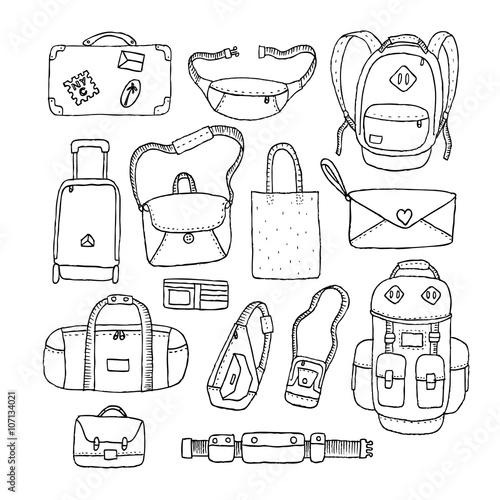 Fotografía  Vector Set of Sketch Bags. Isolated.