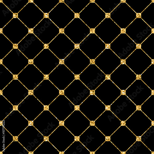 Fototapety, obrazy: Rhombus seamless pattern. Gold glitter and black template. Abstract geometric texture. Golden ornament. Retro, Vintage decoration. Design template wallpaper, wrapping, fabric etc. Vector Illustration.