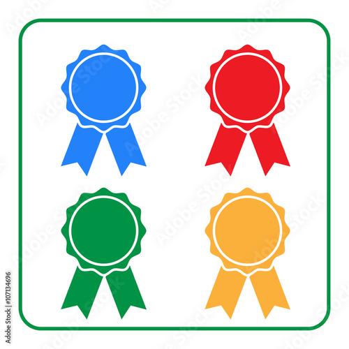 ribbon award icons set blue red green yellow rosette badge on