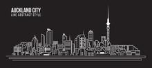Cityscape Building Line Art Vector Illustration Design - Auckland City