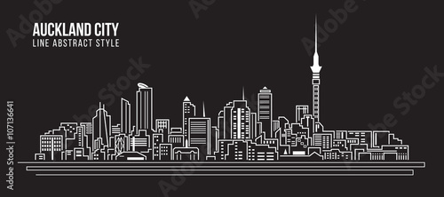 Photo Cityscape Building Line art Vector Illustration design - Auckland city
