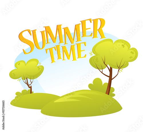 Wall Murals Green coral Cartoon Summer Landscape Background. Summer tree. Vector illustration