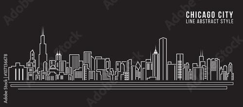 Photo  Cityscape Building Line art Vector Illustration design - Chicago city