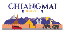 Chiangmai City Of Thailand - Attractions And Traval Location Such As Doi Suthep , Tha Phae Gate And Temple And Elephant