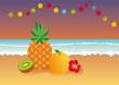 Tropical evening at the beach. Summer tropical fruit illustration. Vector illustration of summer paradise