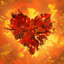 Burst Of Broken Heart On Fire Backgrounds