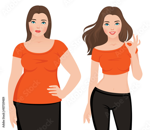 Fotografía  Before and after weight loss fat and slim woman on a white backg