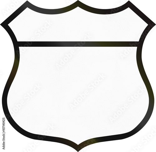 Blank highway route shield used in the US Wall mural