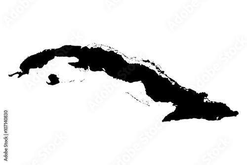 Photo  Cuba black map on white background vector