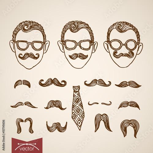 Fényképezés Hipster style faces mustache constructor engraving vector retro