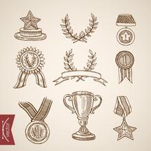 Cup Trophy Medal Win Winner Attribute Engraving Vintage Vector