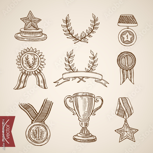 Valokuva  Cup trophy medal win winner attribute engraving vintage vector