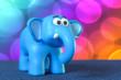 Ein niedlicher süßer, lustiger, fröhlicher, freundlicher, und netter blauer Elefant. .Der kleine Babyelefant mit großen Augen hat schon den vollen Durchblick in seiner farbenfrohen bunten Umgebung.