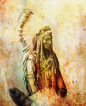 Drawing Of Native American Ind...