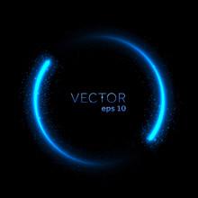 Blue Neon Glittering Circle Light Tail