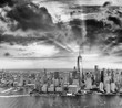 Black and white view of Downtown Manhattan skyline, New York Cit