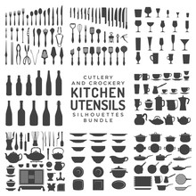 Kitchen Utensils Silhouettes Bundle.