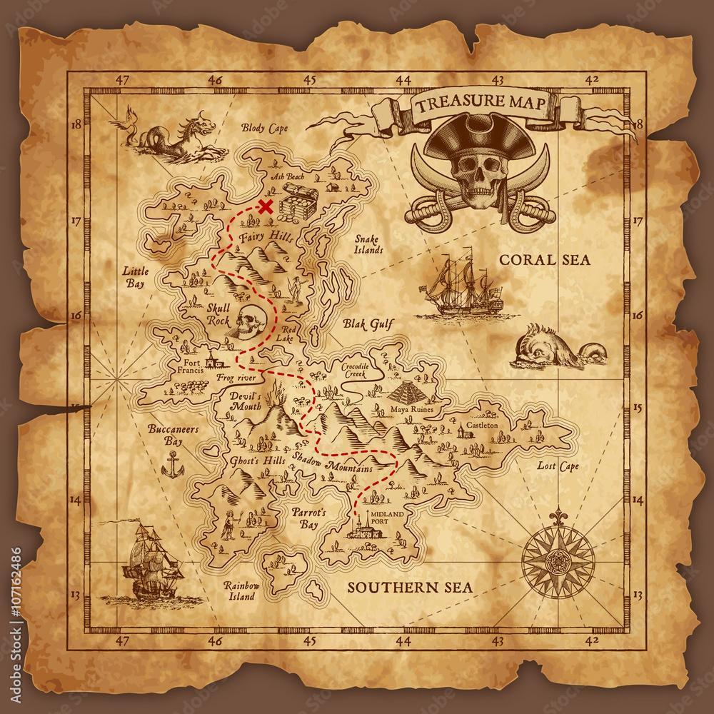 Fototapety, obrazy: Vector Pirate Treasure Map