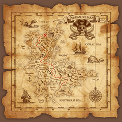 Fototapeta Mapy Vector Pirate Treasure Map